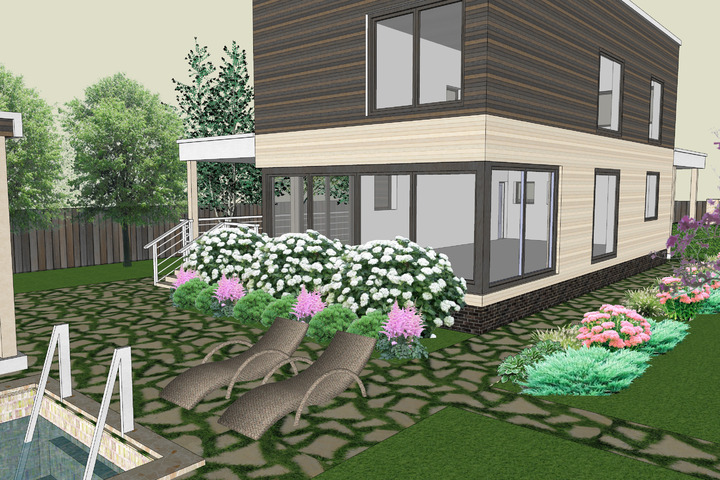 Ландшафтный проект. Визуализация SketchUp - 1028846