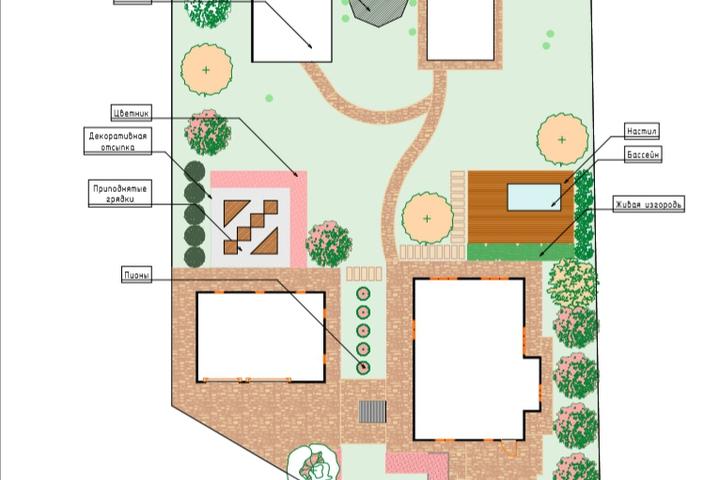 Генеральный план благоустройства участка в Archicad - 1042174