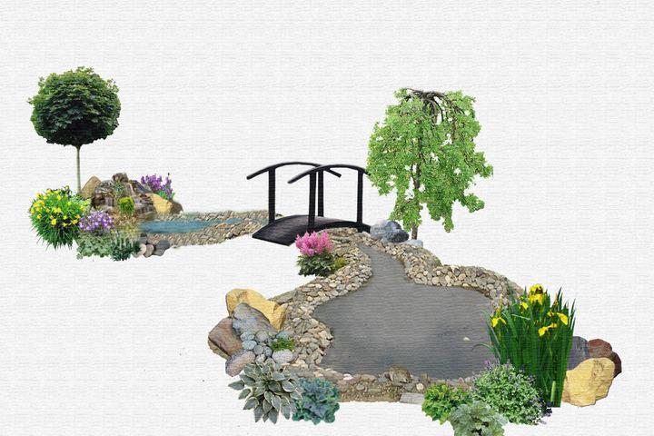 Схема цветника, декоративного водоема, альпийской горки - 1042178