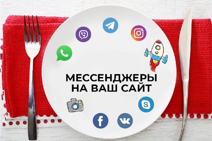 Размещение интерактивных иконок мессенджеров Whatsup - Viber - Telegram - 1047543