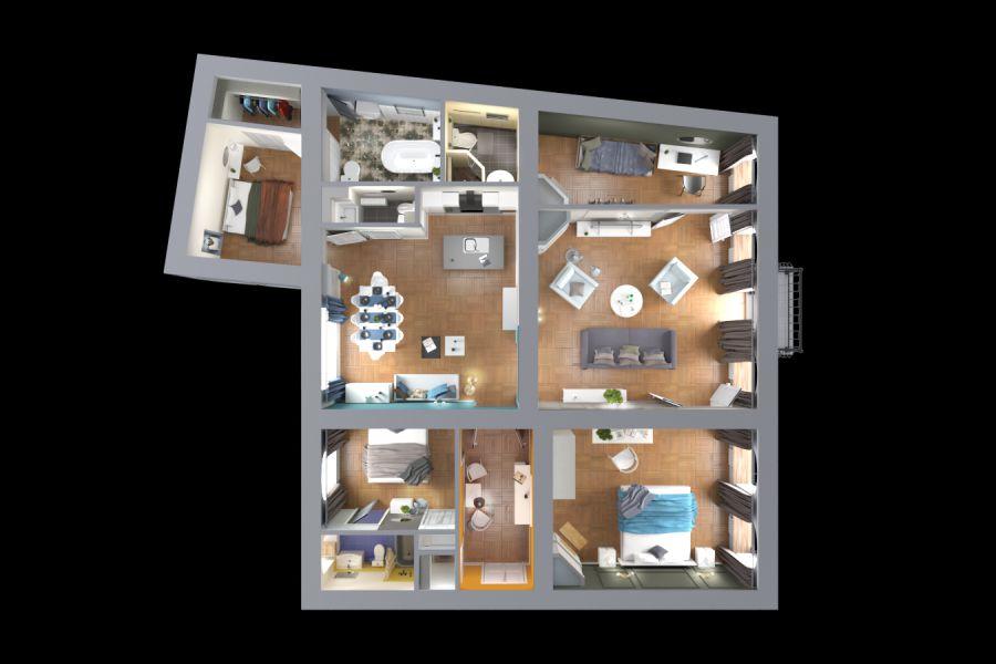 3d Визуализация планов жилых и нежилых помещений. 5 000 руб. 2 дня.