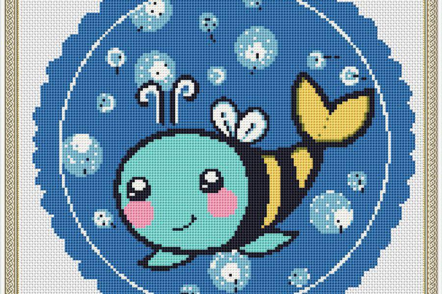 """Продаю: Схема для вышивки крестом """"Рыба-пчела"""""""