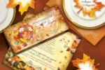 Приглашение и банкетки на свадьбу в осенней тематике