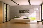 3d визуализация спальни в стиле хай тек, лофт