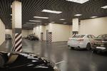 3d визуализация современной крытой парковки