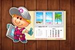 Календарь с использованием фирменного персонажа компании