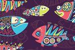 Паттерн с этническими рыбками