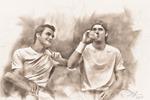 Роджер Федерер и Томми Хаас на перерыве.