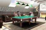Дизайн бильярдной комнаты на мансарде