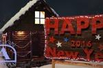 Новогодняя деревня.Ночной вид