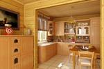 Кухня и столовая в деревянном коттедже