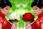 Изменение цвета букета роз