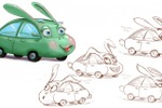 Car-rabbit, sketch, character design for cartoon