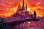 An amazing sunset in amazing world, sketch in color