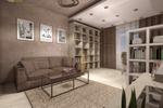 Дизайн проект совмещенной гостиной с кабинетом