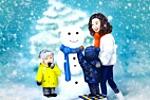 Зимний  семейный портрет.