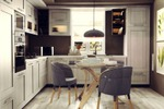 Кухня в светлых тонах.