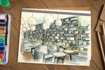 """Скетч интерьера ресторана """"Park cafe"""" в Новосибирске"""