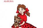 Девочка и собачка,