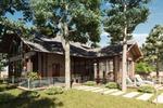 Эскизный проект дома с баней и бассейном, визуализация.