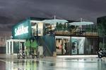 Визуализация и концепция магазинов из контейнеров