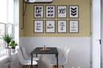 Зона столовой в скандинавском стиле на маленькой кухне