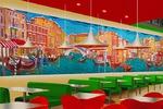 Суперграфика (роспись) в интерьере пиццерии