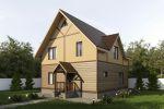 3д проект каркасного дома 8х8 128м2