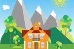 """""""Дом в горах"""". Концептуальная иллюстрация в флэт стиле"""