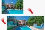Добавление фонтана и бассейна к данной фотографии