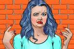 """Векторная иллюстрация """"Девушка, испытывающая отвращение"""""""