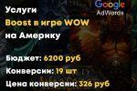 Google ADS - Услуги Boost в игре WOW на Америку