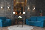 Визуализация 3д модели дивана в интерьере