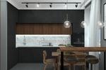 Кухня-гостиная черная с изумрудным