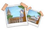 иллюстрация для открытки с достопримечательностями Воронежа