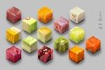 кубики текстуры еды