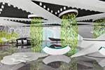 Холл зоны ожидания в бионическом стиле