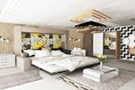 Спальня из проекта квартиры в светлых оттенках