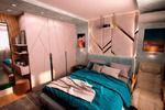 Визуализация спальни с мягкой стеной