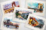 Мосты мира (рисунки для календаря) акварель