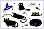 наклейки чёрного кота на хэллоуин