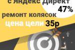 Конверсия с Директ 47%, Москва, ремонт колясок, цена цели 35р