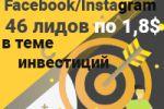 Таргетированная реклама Facebook/Instagram, 46 лидов по 1,8$ (за