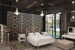 Дизайн спальни 29 м2 с азиатскими мотивами в частном доме