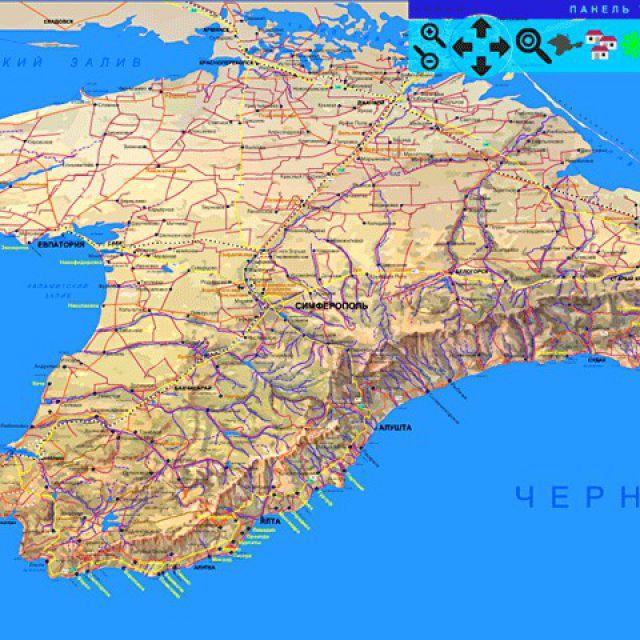Карта КРЫМА  - туристская схема