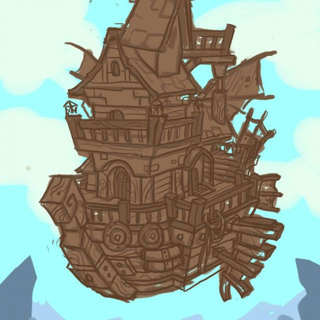 Концепт арт замок на парящем корабле