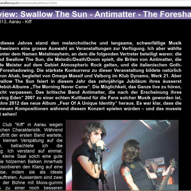 Музыкальный обзор (перевод с русского). Группа Swallow The Sun
