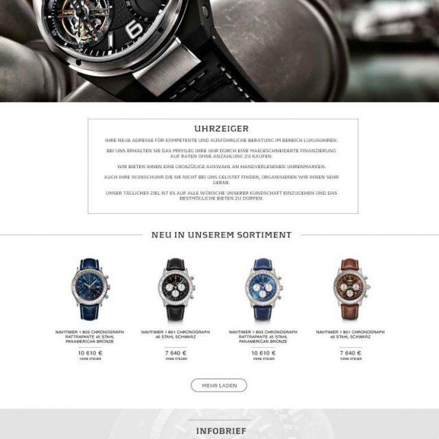 Дизайн сайта для интернет-магазина часов. Германия