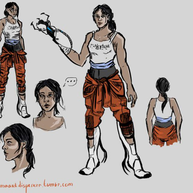 Chell, концепт-арт героини игры Portal 2