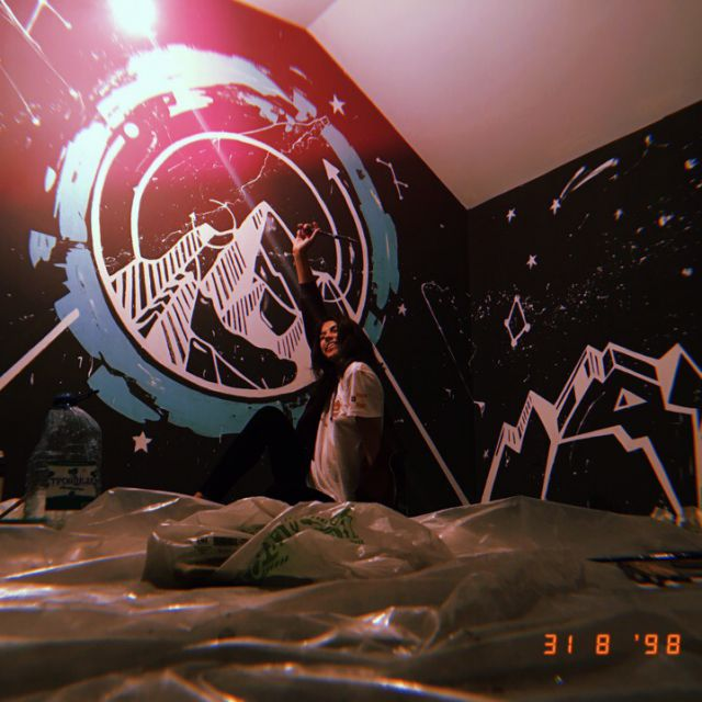 Эскиз и роспись стены